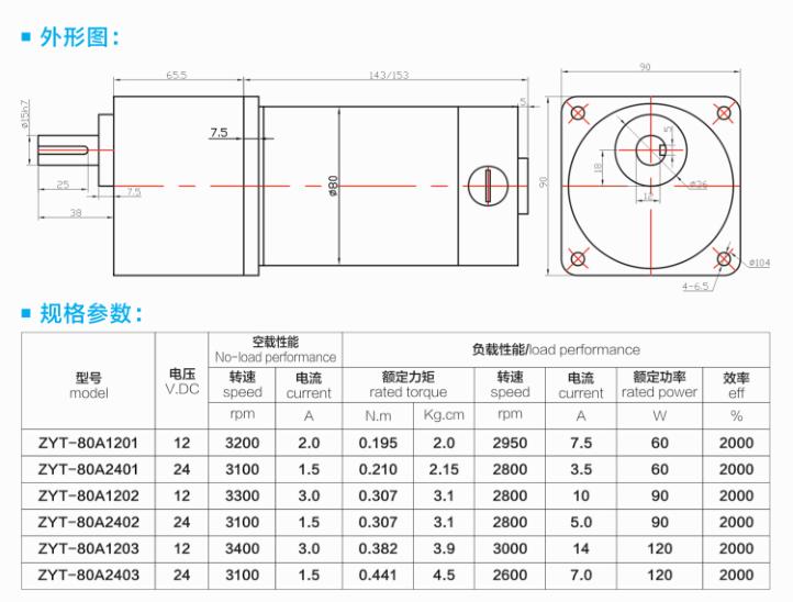AGV无人搬运车电机外形结构与规格参数