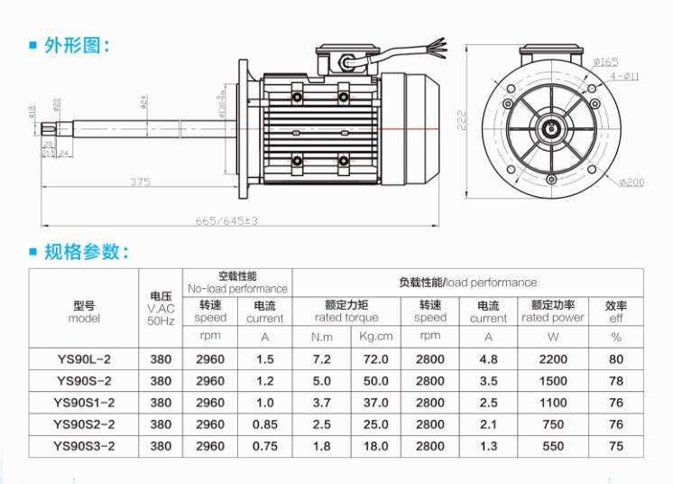 长轴水泵电机外形结构与规格参数