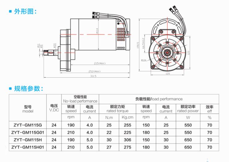 洗地机刷盘电机外形图与规格参数