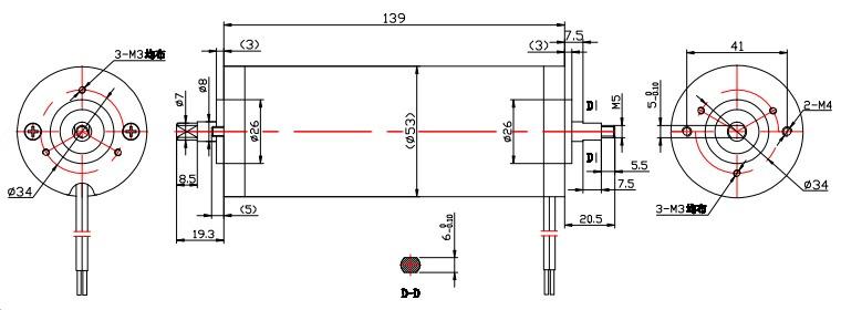 ZYT-53L系列直流管状电机外形尺寸